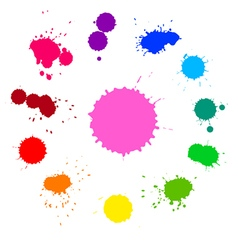 set of colorful rainbow ink splashes vector image