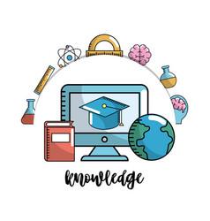 set school utensils to education knowledge vector image vector image