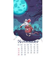 2021 calendar november funny cartoon mouse vector
