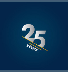 25 years anniversary celebration blue and white vector