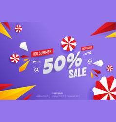 abstract hot summer sale 50 discount background vector image