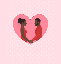 African female and male a couple in love holding vector