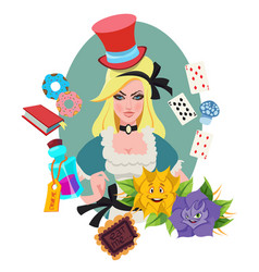 Alice surrounded by fabulous items to the fairy vector