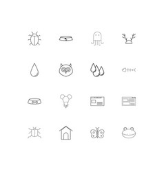 animals simple linear icons set outlined icons vector image
