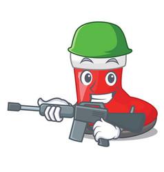 Army christmas santa boots with shape cartoon vector