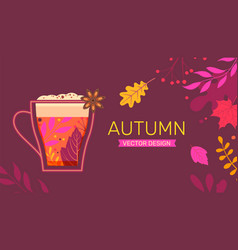 autumn banner with fall leaves and hot drink vector image