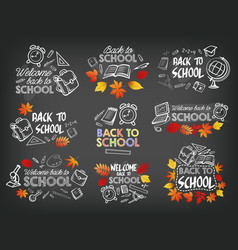 Back to school stationery chalk icons vector