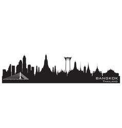 Bangkok Thailand skyline Detailed silhouette vector
