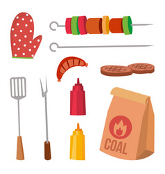 Bbq accessories set sauce mustard fork vector