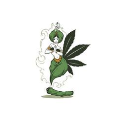 Beauty arabian female cannabis genie for your vector