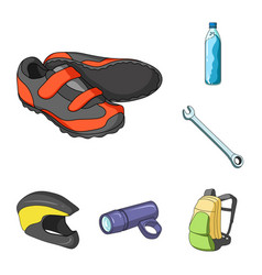 bicycle outfit cartoon icons in set collection for vector image