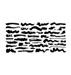 black paint wavy and straight brush strokes vector image