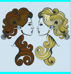 blonde vs brunette vector image