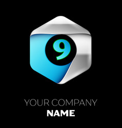 blue number nine logo in the silver-blue hexagonal vector image