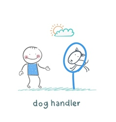canine teaches the dog to jump through a ring vector image