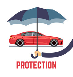 Car insurance concept with hand holding vector