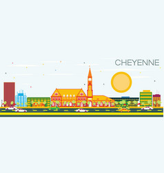 Cheyenne skyline with color buildings vector