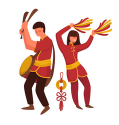 Chinese man and woman in traditional clothing vector