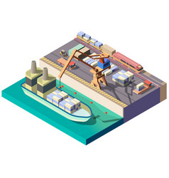 city cargo port isometric map section vector image