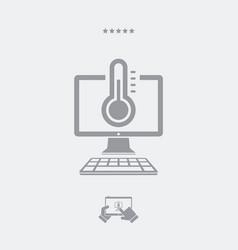 Computer temperature - web icon vector