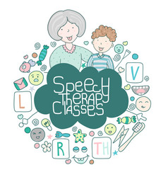 Concept speech therapy logo school speech vector