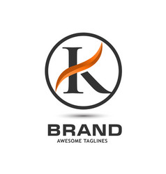 corporate letter k swoosh logo vector image