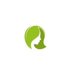 creative female head logo vector image