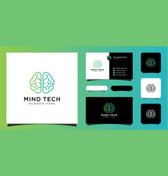creative smart brain technology logo design and vector image