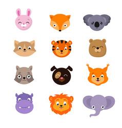 Cute baanimal faces set vector