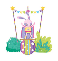 Cute circus rabbit with layer in balloon vector