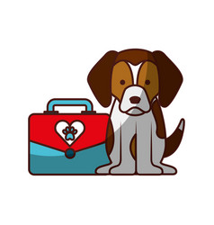 Cute dog mascot with box transport vector
