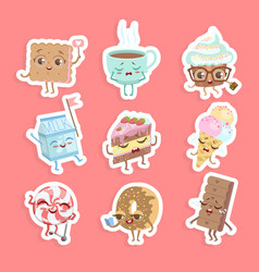 cute sweet desserts stickers set cake cupcake vector image