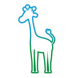degraded line silhouette giraffe safari wild vector image