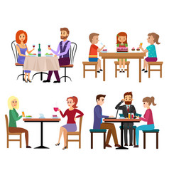 Eating people set couple friends family children vector