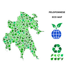 eco green collage peloponnese peninsula map vector image