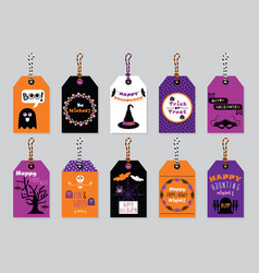 Fall colors happy halloween gift tags set on vector