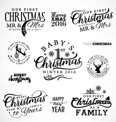 Family Baby Mr and Mrs Christmas Design Elements vector