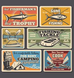 fishery tools and equipment fishing sport vector image