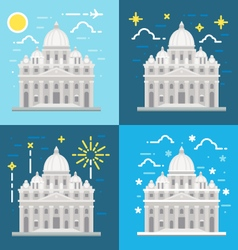 Flat design of St Peters Basilica Rome Italy vector image