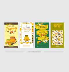flat natural honey vertical banners vector image