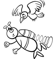 Flying alien cartoon for coloring book vector