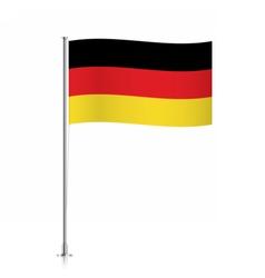 Germany flag waving on a metallic pole vector image