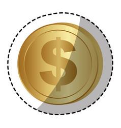 Gold dollar coin money vector