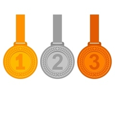 Gold silver and bronze medals for the winners vector
