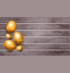 Golden easter eggs on wooden planks vector