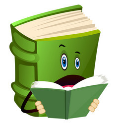 Green book is reading on white background vector