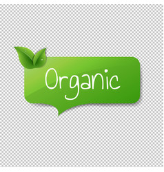 Green organic label isolated transparent vector
