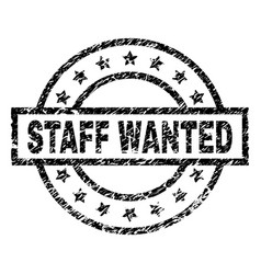 Grunge textured staff wanted stamp seal vector