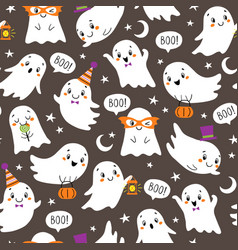 halloween pattern cute little ghosts vector image