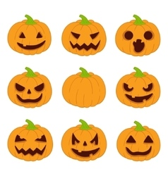 Halloween pumpkins set icons vector image